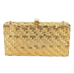 Rodo Italy Gold Metal Basket Weave Evening Clutch